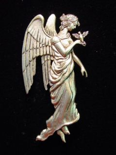 JJ Antique Gold Pewter Angel Holding Bird in Hand Pin