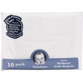 New Gerber Birdseye 10 Count Flatfold Cloth Diapers White