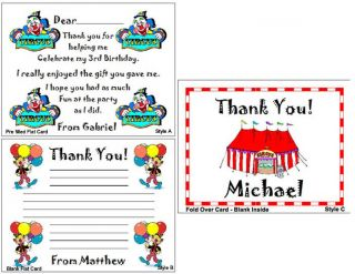 Circus Carnival Birthday Party Personalized Thank You Note Cards
