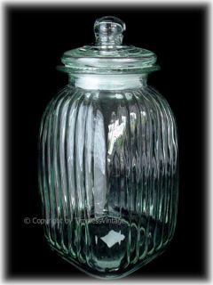 ribbed glass biscotti cookie jar canister domed lid this brand new