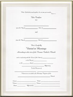 Catholic MARRIAGE Certificate: Pearl Border Blank