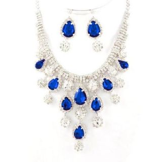 Royal Blue Clear Crystal Link Necklace Earring Set Elegant Bib Silver