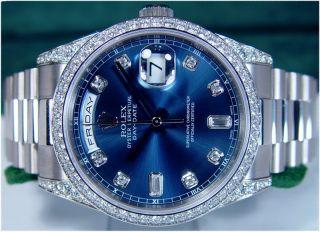 Rolex Mens 36mm 18kt White Gold Diamond Day Date President 118389 Sant