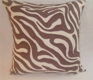 Throw Pillow Brown Ivory Zebra Animal Print 20 X12