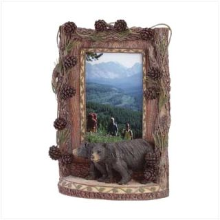 Black Bear Picture Frame Cabin Hunting Woods Den Outdoor Library Home