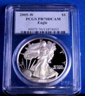 PR 70 PCGS DEEP CAMEO AMERICAN SILVER EAGLE PROOF   CLASSIC BLUE LABEL