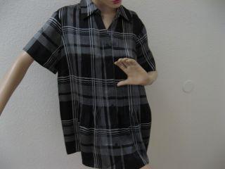 Gorgeous Coldwater Creek Black Plaid Silk Button Down Top Shirt Blouse