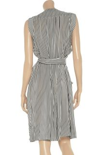 Max Azria Silk Designer Black White Striped Sleeveless Dress   S Small