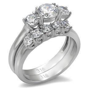 Steel April Clear CZ Birthstone Ladies Wedding Set Ring Jewerly