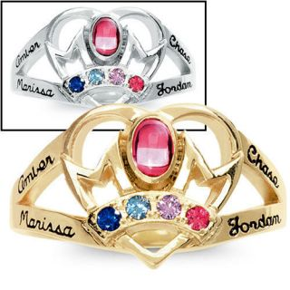 Gold Personalized Mothers Ring Choose Names Birthstones