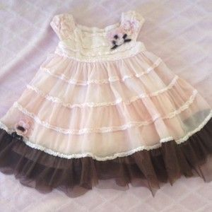Baby Biscotti Tiered Pink Brown Dress 9 MO