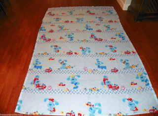 Vintage Blues Clues Twin Bedding Flat Sheet, Blue Puppy Dog,T.V.Fire