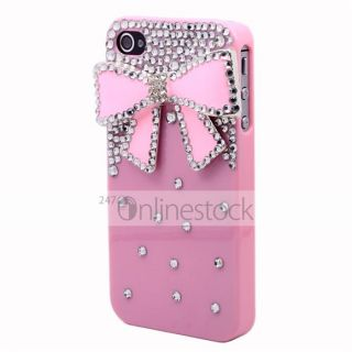 Pink 3D Bow Diamond Crystal Bling Case Rigid Plastic Cover for iPhone