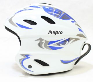 New ALLPRO Ski Snowboard Winter Sports Helmet White Blue S M L XL
