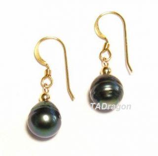 10mm Tahitian Black Pearl 14k Yellow Gold Hook Earrings