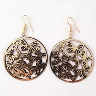 Black&Gold Butterfly Round Dangle Eye Catching Earring Jewelry