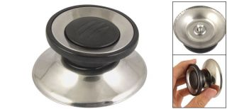 Cookware Black Silver Tone Tempered Glass Pot Lid Knob