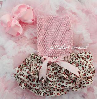 Newborn Baby Leopard Satin Bloomers Light Pink Tube Top Bow Headband