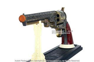 cowboy black powder outlaw revolver pistol replica gun w stand