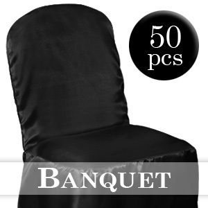 50 Black Satin Banquet Chair Covers Wedding Party New