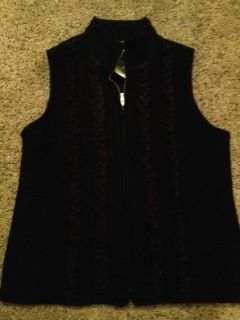 NWT Coldwater Creek Black Ruffle Front Knit Vest 100 Wool Retail 69 00