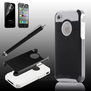 Pen Black White Hybrid Impact PC Silicone Rubber Cover Case for iPhone