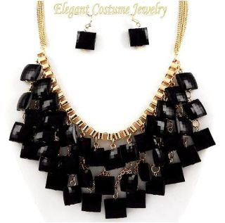 Sassy Black & Gold Square Charm Chunky Necklace Set Costume Jewelry