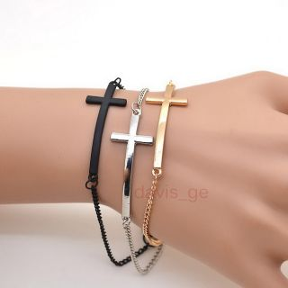 1pcs Fashion Jewelry Gold Silver Black Cross Bracelet Bangle 8 Girls