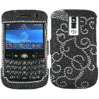 White Bling Rhinestone Case Cover for Blackberry Bold 1 9000