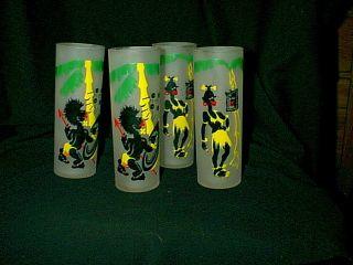 1950s Black Americana Tiki Jungle Frosted Ice Tea Tumbler Glasses Set