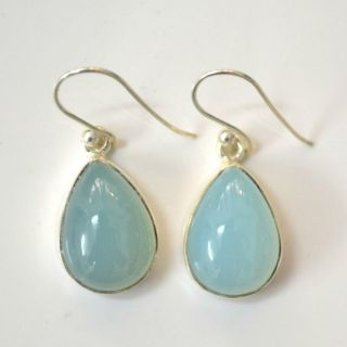 EHS 925 Sterling Silver Blue Chalcedony Classic Earring 2 9 CMS