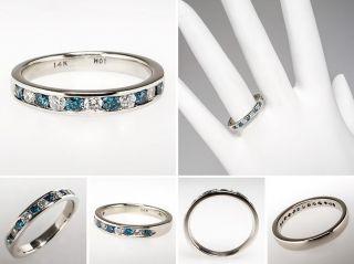 Genuine White & Blue Diamond Wedding Band Ring Solid 14K White Gold