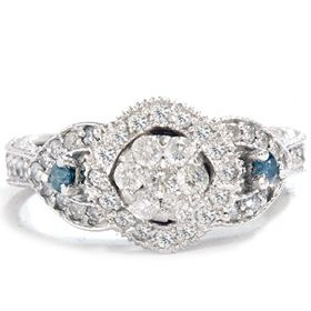 Real 79 Carat Pave Antique Blue Diamond Engagement 14k White Gold Ring
