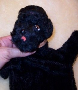 Steiff Poodle Dog Vintage Black Snobby Puppet Cute