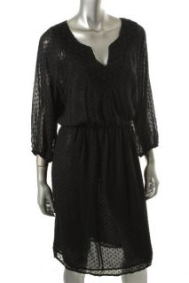 Daniel Rainn Black Dotted Swiss Lace Split Neck Wear to Work Dress L