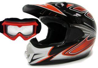 Adult Red Black Dirt Bike ATV Motocross Off Road Helmet w Goggles s M