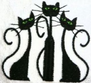 Classic Black Cat Towel for Cat Lovers Embroidered