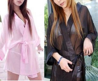 sexy black white pink red lingerie silk nightdress bath robe sleepwear