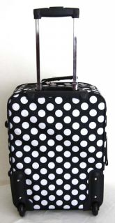 Travel Bag Rolling Wheel Upright Expandable White Polka Dots