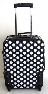 Travel Bag Rolling Wheel Upright Expandable White Polka Dots