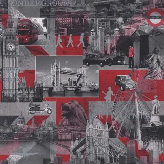 Black / White / Red   102509   Britannia (London)   Muriva Wallpaper
