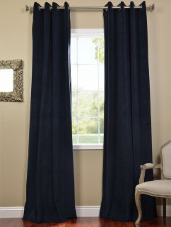 Midnight Blue Grommet Velvet Blackout Curtains Drapes