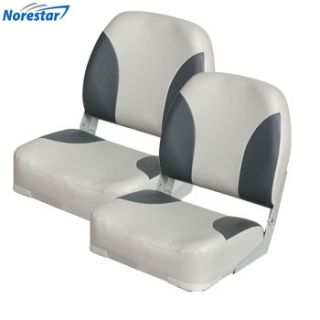 of 2 Deluxe Heavy Duty Folding Boat Seats, Grey/Charcoal, Extra Large