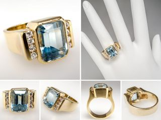 Blue Topaz & Diamond Cocktail Ring Solid 18K Gold Fine Estate Jewelry