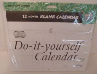 Blank 12 Month Calendar New in Package 8 5 x 11