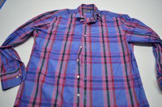 Robert Graham Blue Red Plaid Dress Shirt 16.5 x 34/35 Cotton