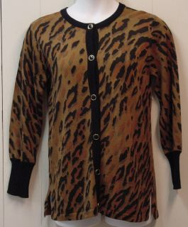 Bob Mackie Leopard Print Button Front Cardigan Size XS Camel