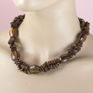 Z046 Boho Bling Fashion Jewelry Necklace Tigereye Chips Stone