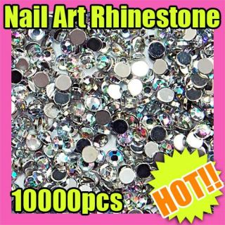 10000 2mm round nail art glitter rhinestone tips  S155