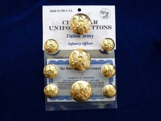 Union Army Civil War Infantry Officer Buttons 9 PC Blazer Set New
